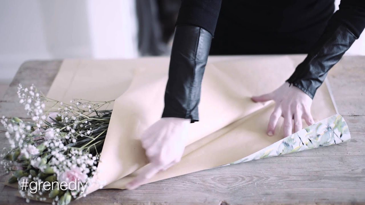 Diy How To Wrap A Bouquet Of Flowers By Sstrene Grene Youtube