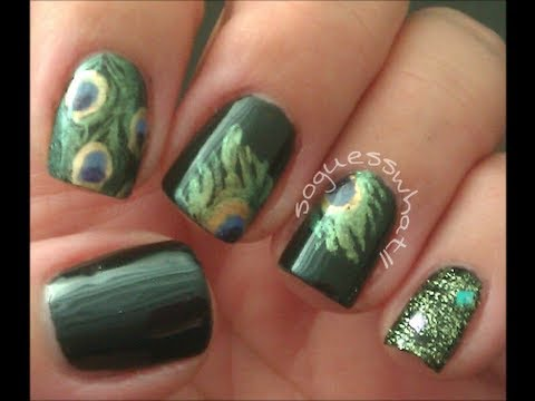 Peacock Feathers Nail Art Tutorial Youtube