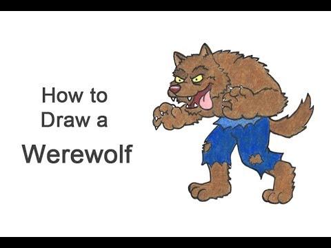 How To Draw A Werewolf (Cartoon) For Halloween