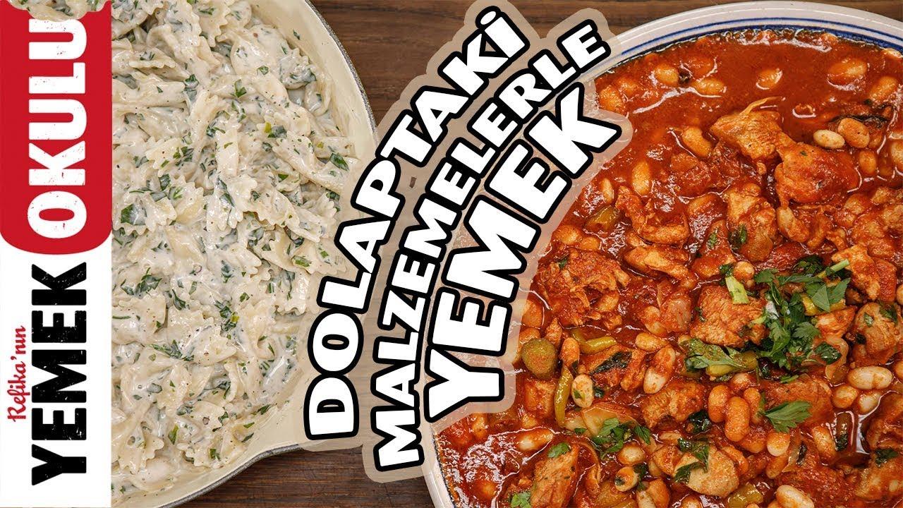 Dolaptaki Malzemelerle Yemek Yapmak | Salçalı Tavuklu Kuru Fasulye ve Sütlü Makarna