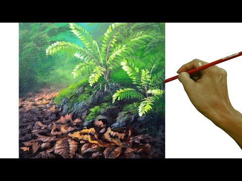 Acrylic Painting Tutorial How to Paint Ferns and Dried Leaves on Forest Floor