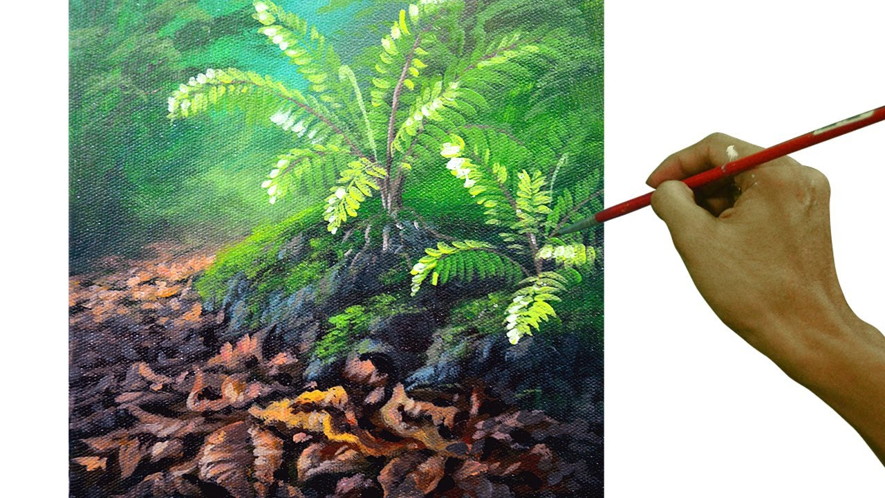 Acrylic Painting Tutorial How To Paint Ferns And Dried