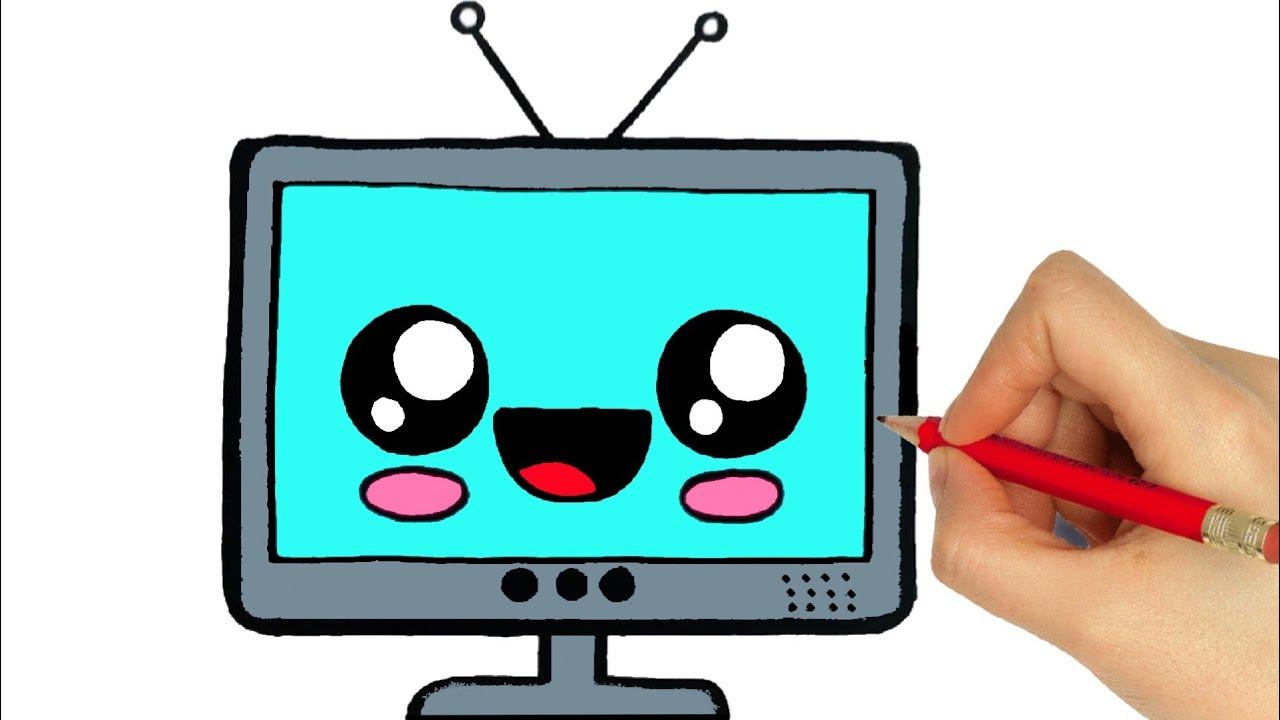 Drawing Tv Como Desenhar Uma Televisao Dibujos Kawaii How To