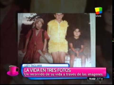 Las tres fotos en la vida de Lizy Tagliani: en la escuela, en los brazos de su mamá y con Tinelli