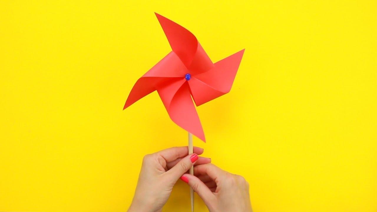 Как сделать ветрячек из бумаги за 3 минуты?