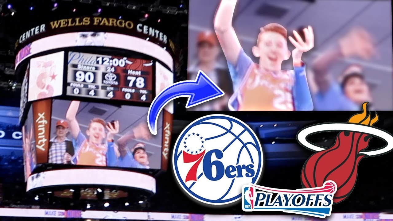 I WAS ON THE JUMBOTRON! Sixers vs Heat Playoffs Game 1 ...