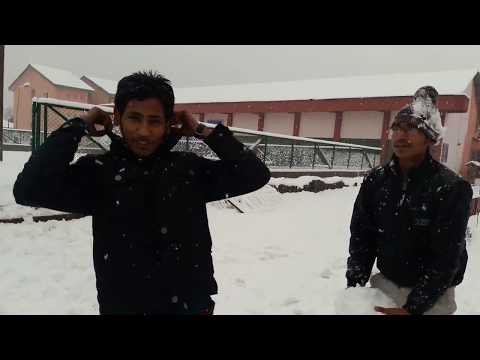 playing in heavy snowfall in nit srinagar 16' batch