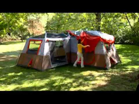 & Ozark Trail 12 Person 3 Room L Shaped Instant Cabin Tent - YouTube