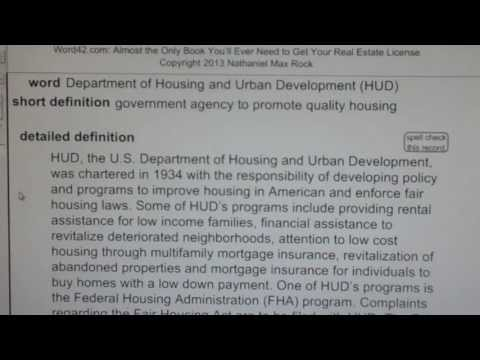 Download Youtube: Department of Housing and Urban Development (HUD) CA Real Estate License VocabUBee.com