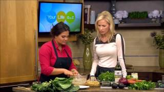 Repeat youtube video Collard green sandwich wraps with smashed chickpea salad