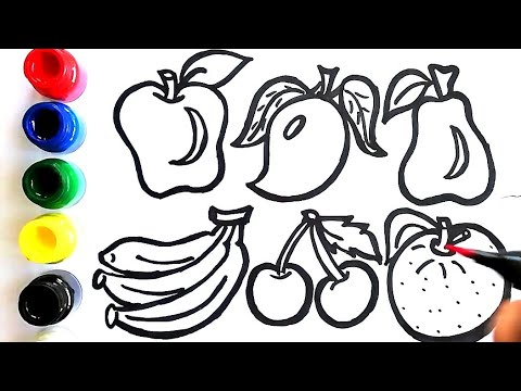 Learn Fruits Names For Nursery Kids Part - 1|fruits Drawing And Colouring  ||Colouring Pages - YouTube
