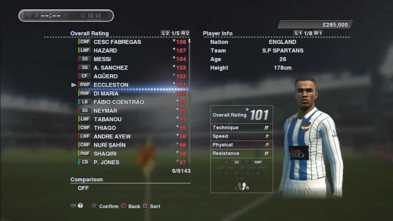 PES 2013 MASTER LEAGUE # PLAYER RATINGS # AFTER 4 SEASONS SPOT POTENTIAL