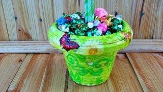 Кашпо из бумажных трубочек для топиария, цветов. Не плетение. Подробный Мастер-класс