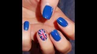 видео ногти с британским флагом
