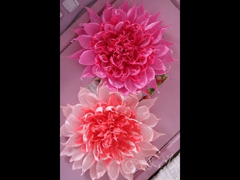 видео: Огромный цветок из гофрированной бумаги для оформления фотозоны.