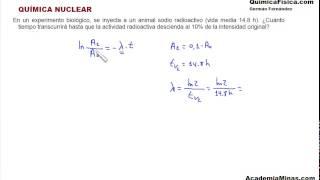 Química nuclear. Problema 4. Cálculo de la actividad radiactiva
