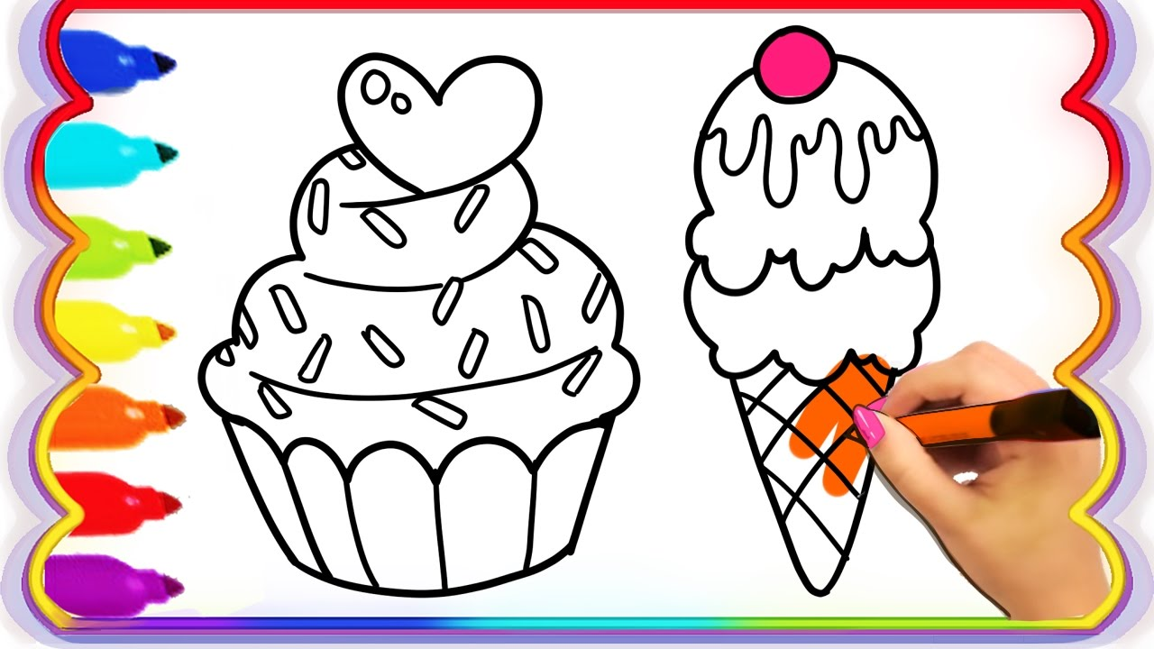How To Draw Heart Cupcake And Colouring Ice Cream And Popsicles
