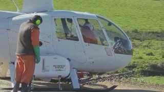 Robinson R44 Helicopter, Chemical Pasture Spraying In New Zealand.