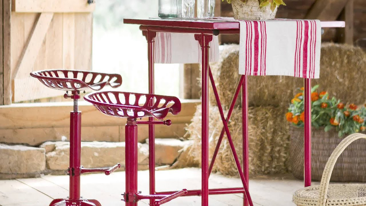 Vintage Bar Table And Tractor Seat Stool Set Sku 38590