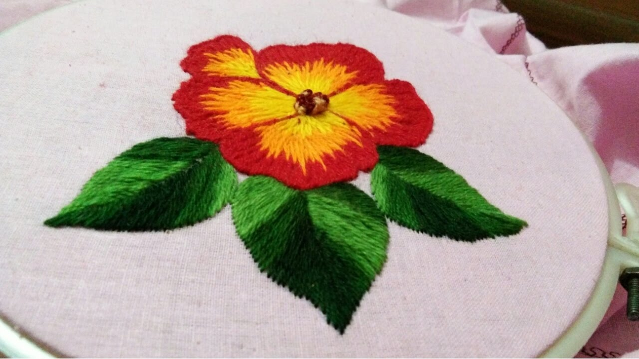 Hand Embroidery Long And Short Stitch Shading Work Youtube