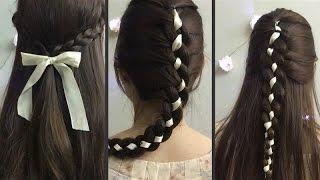 Cách tết tóc với dây ruy băng || How to: Hairstyles with Ribbon