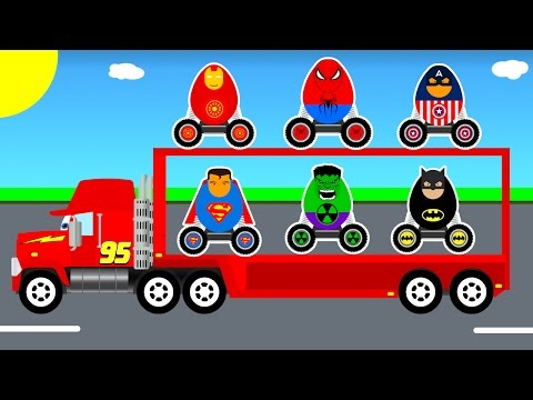 Thumbnail: Surprise Eggs Mack Truck Transportation & Learn Numbers Colors in Cars Cartoon for Kids Video