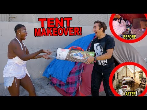 GIVING A HOMELESS WOMAN A TENT MAKEOVER