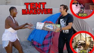 GIVING A HOMELESS WOMAN A TENT MAKEOVER thumbnail