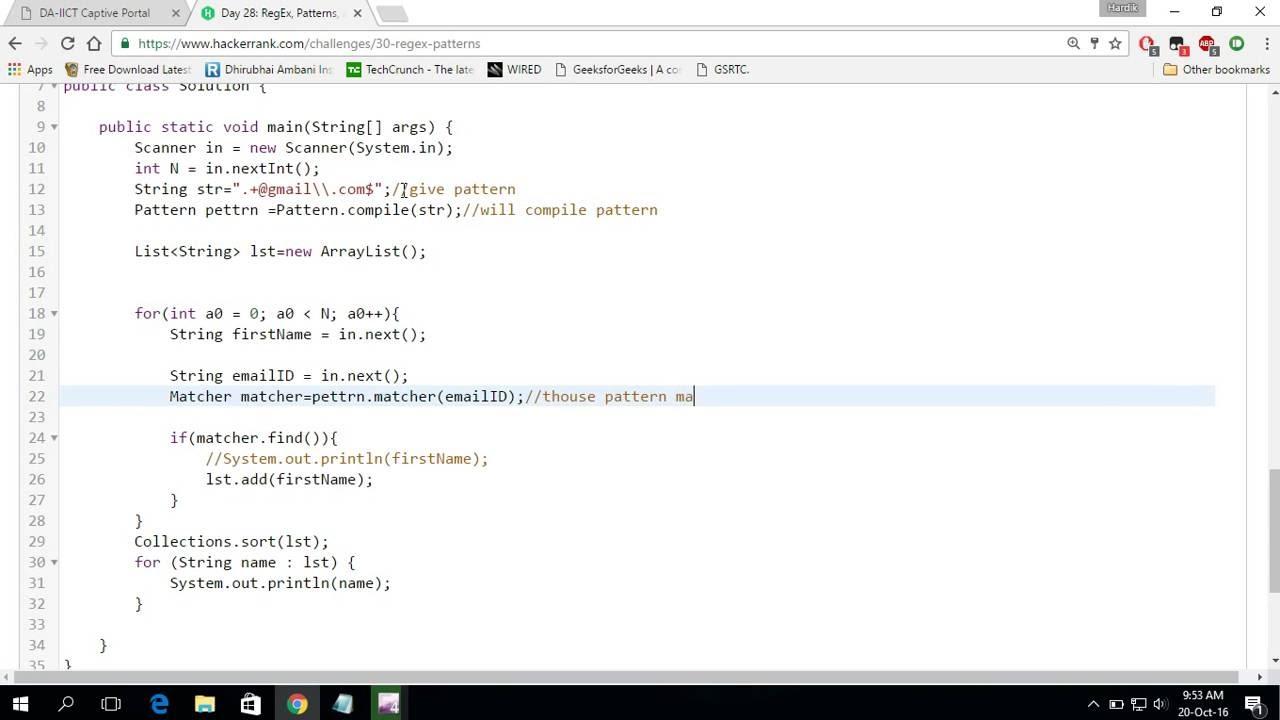 Hackerrank pattern solution