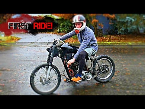 Test riding my home-made  V-twin motorcycle!