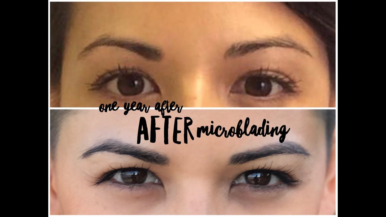 one year after eyebrow microblading