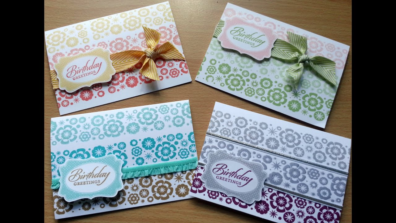 Set of quick Stampin Up birthday cards YouTube – Set of Birthday Cards