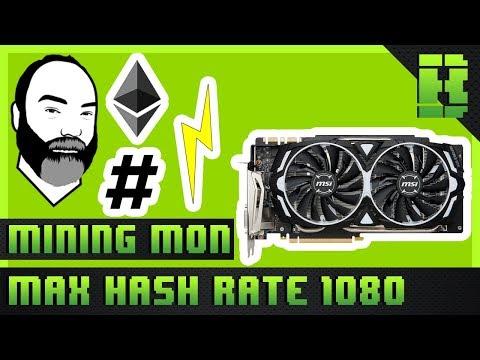 GTX 1080 Ethereum Mining Overclock Settings Hashrate & Power Consumption | MSI Armor