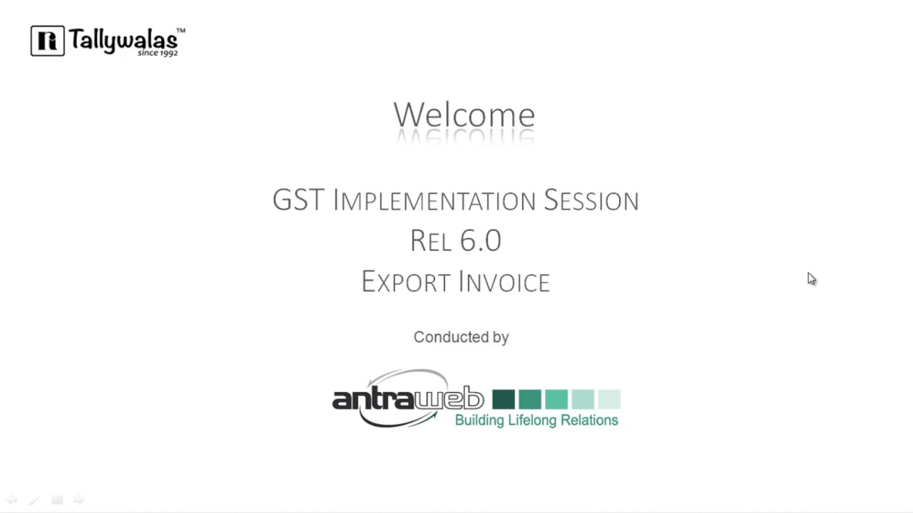 Export Invoice Under Gst In Tally Youtube