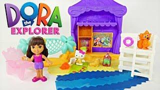 Dora la Exploradora Cabaña de Playa Verde  Play Doh Castillo de Arena, Hello Kitty y Bob Esponja