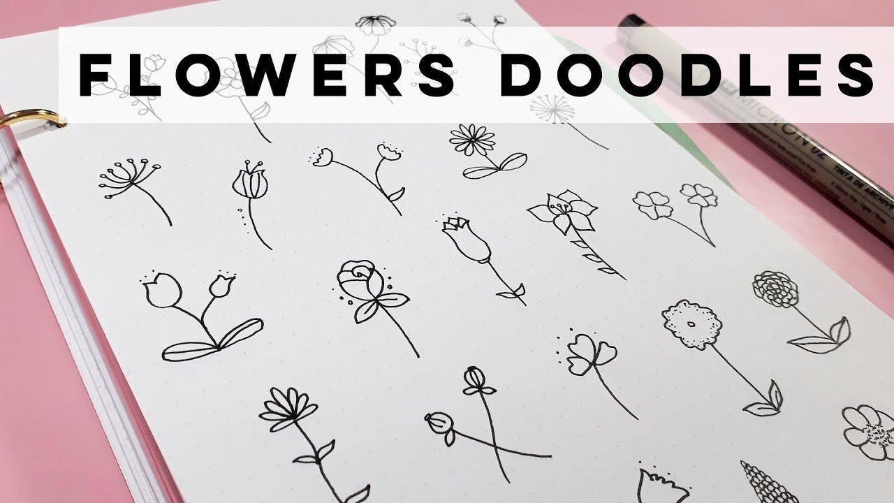 Flowers Doodles Para Bullet Journal Ideias De Desenhos Faceis