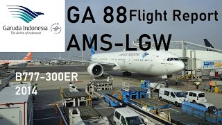 Garuda Indonesia flight GA88 - Amsterdam to London Gatwick - Boeing 777-300ER *Full Flight HD*