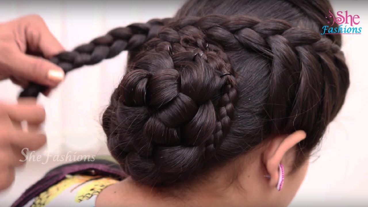 bridal bun hair style for long hair || ladies hair style tutorials 2017
