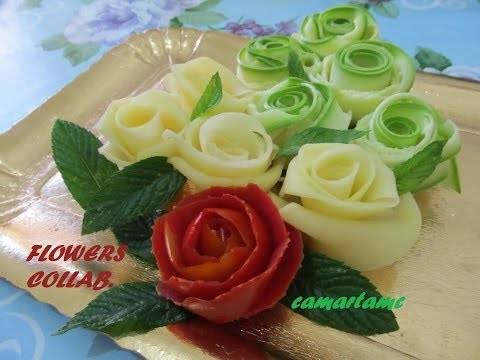 TUTORIAL: Come Realizzare le ROSE con le Verdure FLOWERS | HOW TO MAKE VEGETABLE ROSES