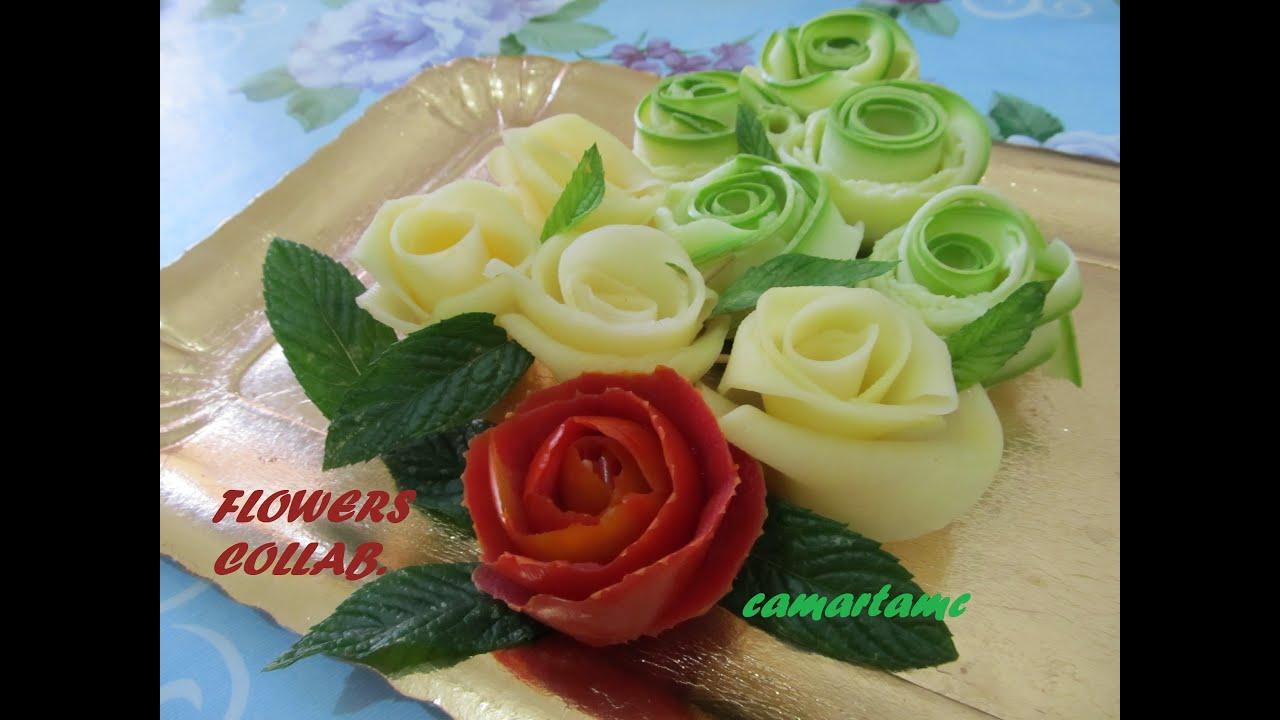 Composizioni Facili Di Frutta tutorial: come realizzare le rose con le verdure flowers | how to make  vegetable roses