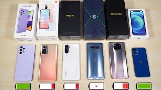 КТО ДОЛЬШЕ ПРОДЕРЖИТСЯ? Samsung Galaxy A52, Redmi Note 10 Pro, POCO F3, POCO X3 Pro, АЙФОН 12 мини