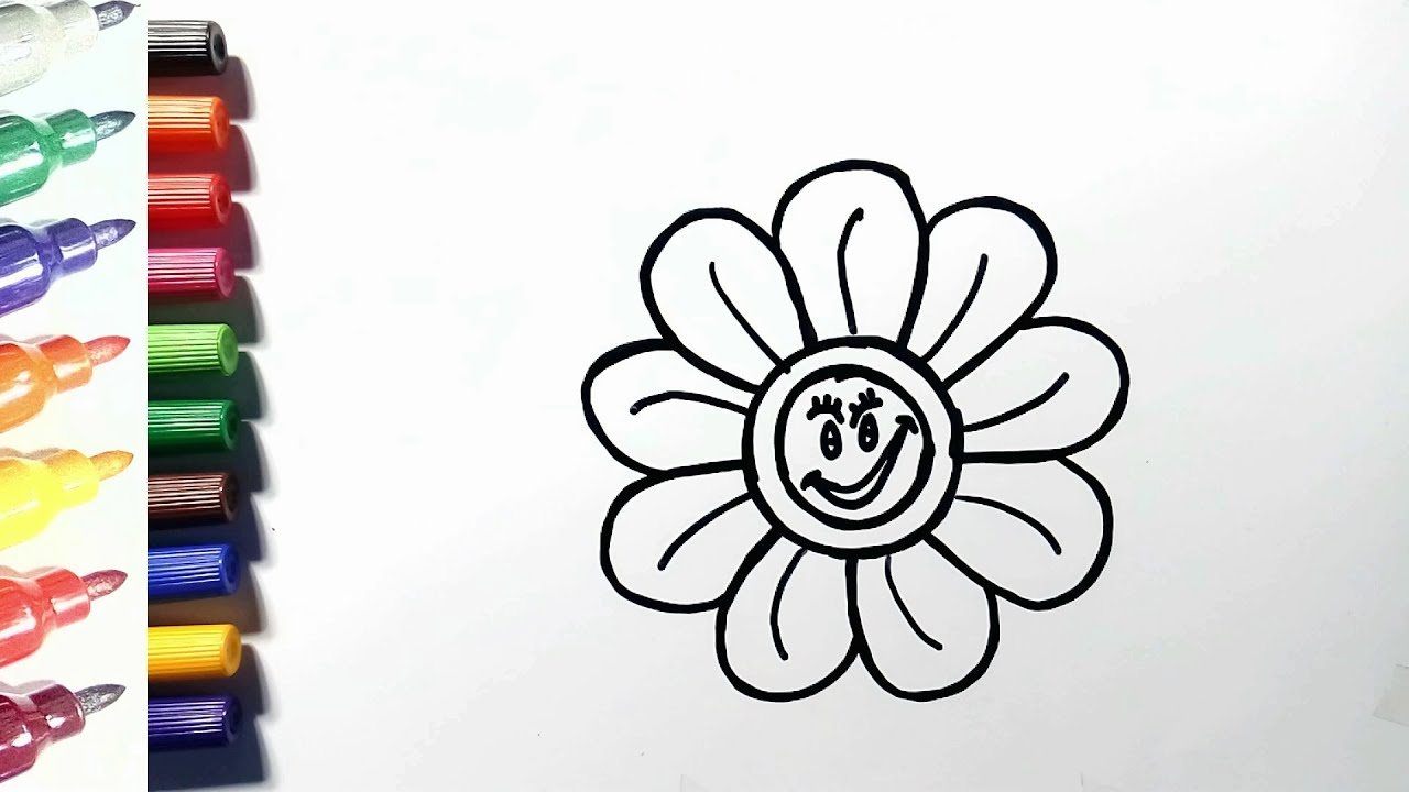 How to Draw Very Simple Flower Drawing for Kids | Coloring ...