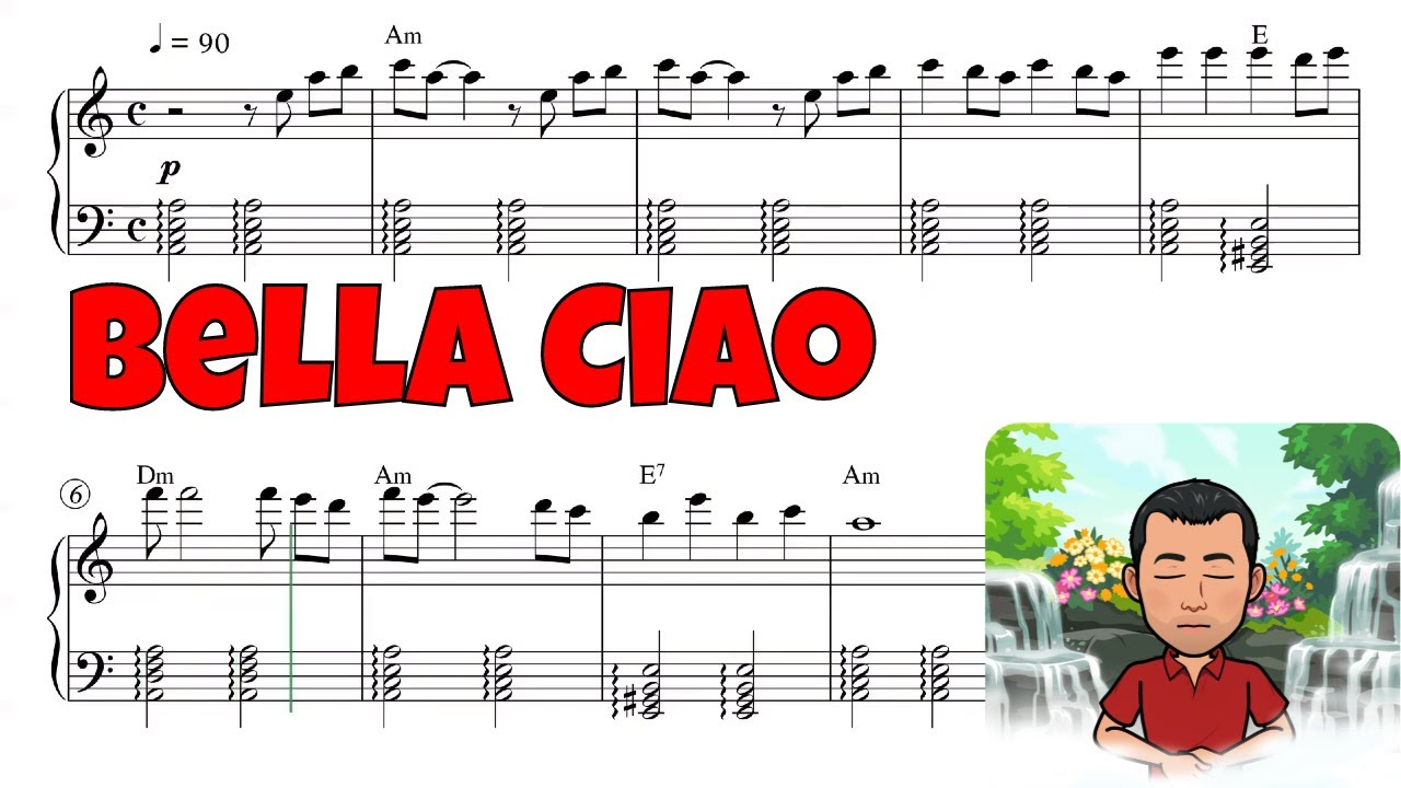 Bella Ciao Canción La Casa De Papel Partitura Para Piano Youtube