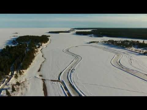 Drone Parrot Bebop 2 Frozen Ocean Ice Track is Melting Sikeåhamn