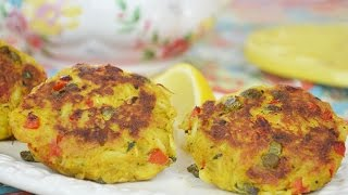 Curry Crab Cakes With Basil, Capers & Red Bell Pepper