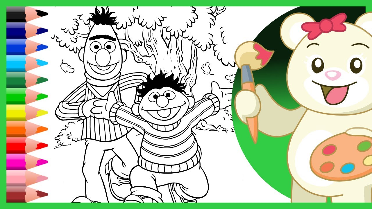 Bert Ernie Coloring Pages Coloring Videos for Children Learn