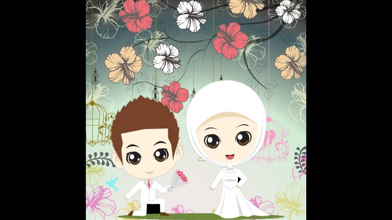 93 Gambar Kartun Muslimah Wedding HD