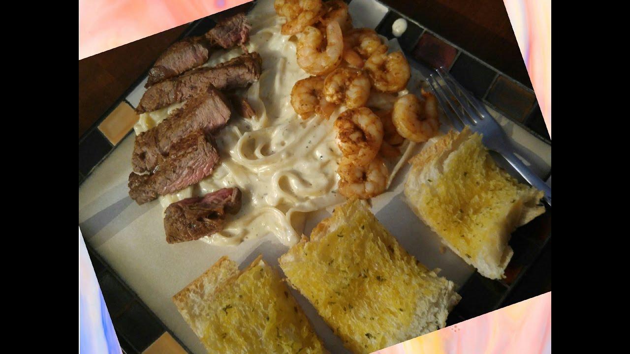 Fettuccine Alfredo W/ Shrimp & Steak (COUNTRY KRACKA COOKING) - YouTube