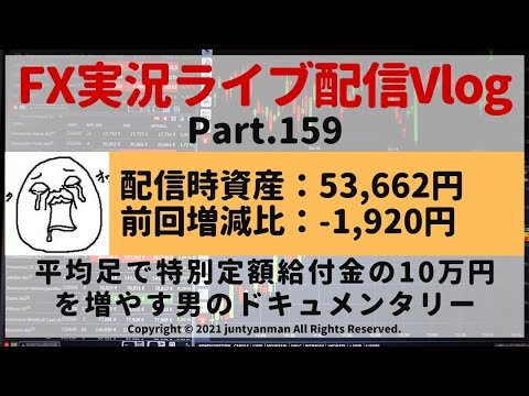 【FX実況ライブ配信Vlog】平均足で特別定額給付金の10万円を増やす男のドキュメンタリーPart.159