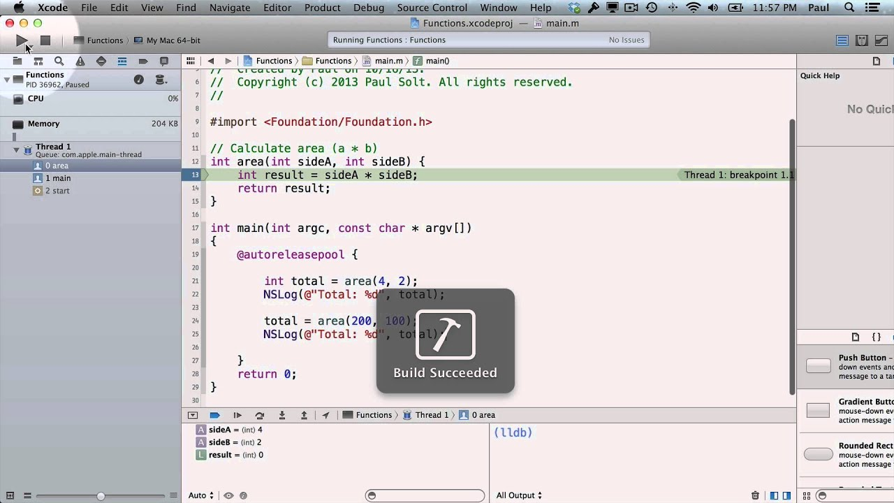 4 Xcode - Functions in Objective-C for Xcode 5